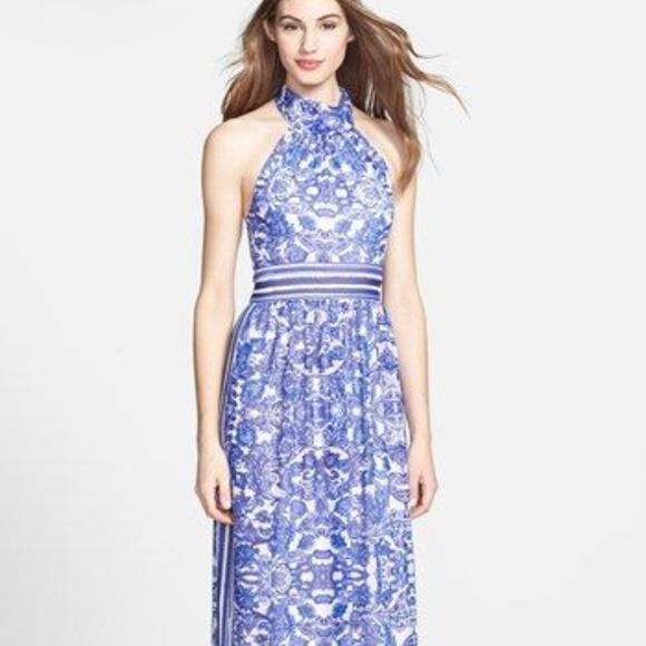 35253a65cef Eliza J Dresses   Skirts - Eliza J Blue White Paisley Maxi Halter Dress